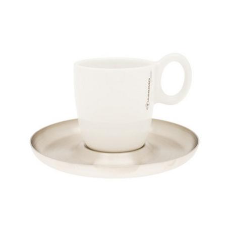 Porcelánový hrnček na kávu s antikorovým tanierikom 1
